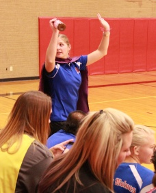 Rachel Rodgers coaching Volleyball