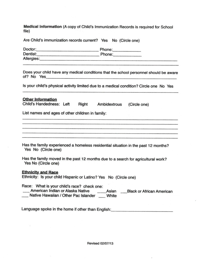New Student Enrollment Form  Castleford School District