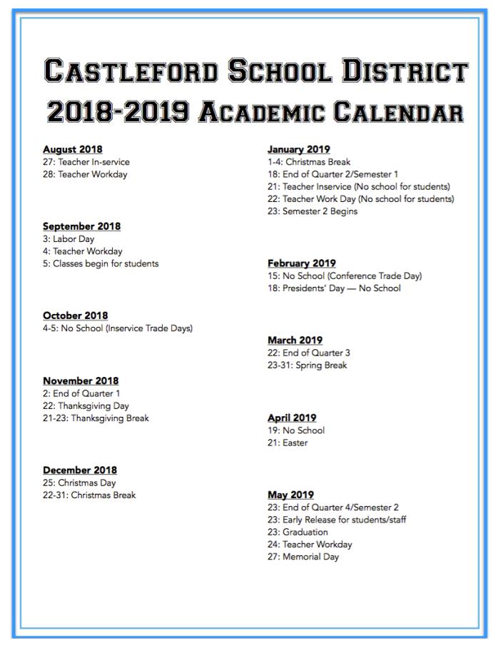 2018 2019 Calendar Castleford School District