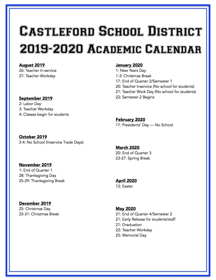 Spring 2020 Academic Calendar.2019 2020 Academic Calendar Castleford School District
